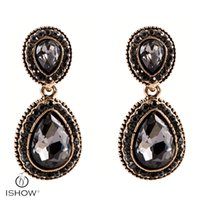 Wholesale Antique Grey - Antique Gold-color Drop Earring For Women Fashion Jewelry Vintage Crystal Round Grey Water Drop Statement Alloy Earring Boucles