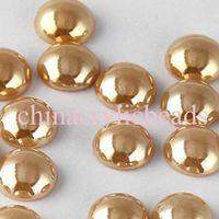 Wholesale Yellow Ceramic Beads - Beautiful 500Pcs 8MM Half Round Ceramic Cabochons Beads Flatback Ceramic Beads DIY Jewelry Making