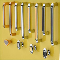 Wholesale handle 64mm resale online - 64mm mm mm mm modern simple fashion silver chrome furniture handles black gold kitchen cabinet wardobe drawer knob pull handle