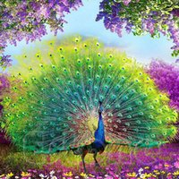 Wholesale Round Mosaic - High Quatity DIY 5D Round Diamond Painting Embroidery Animal Diamond Mosaic Peacock Painting Home Decor 35X35cm