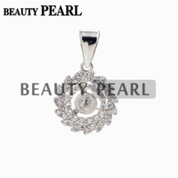 Wholesale Pendant Blanks Wholesale - 5 Pieces 925 Sterling Silver Blank Spiral Pendant Base Pearl Settings Cubic Zirconia Findings Semi Mounts