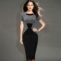 Wholesale Houndstooth Party Dress - New Fashion Womens Elegant Vintage Houndstooth Patchwork Slim Tunic Work Office Business Casual Party Bodycon Pencil Dress