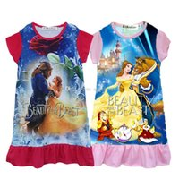 Wholesale Sleeping Clothes Girls - New baby girls Beauty and the beast dress cartoon Children printing sleeveless Sleep dresses Kids Clothing C1970