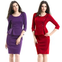 Wholesale red cross clothing online - Spring Summer Women s Dresses O neck Ruffles Slim Three Quarter Sleeve Knee length Work Dress Lady s Clothes Sexy Straight Dress Plus Size