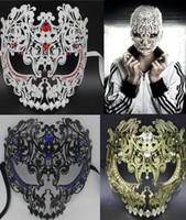 Wholesale Filigree Skulls - Wholesale-Black Red Gold Silver Full Face Metal Filigree Halloween Skull Men Women Rhinestone Party Mask Venetian Costume Masquerade Mask