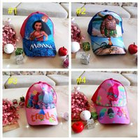 Wholesale Baseball Caps Kids Wholesale - Kids Trolls Moana Hat Cap 4 color NEW children Ball caps Boys girls Cartoon Mesh baseball hockey mesh Hat B001