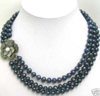 Wholesale 8mm Shell Pearl Beads - 3Row 7-8mm Black Pearl Round Beads Flower Shell Clasp necklace HU129