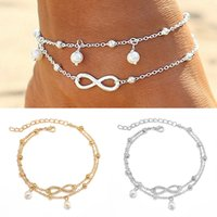 Wholesale silver anklets women barefoot sandals - 2Pcs Barefoot Sandals Beads Boho Unlimited Eight Foot Jewelry Beach Anklet Ankle Bracelet Anklets For Women Gold Silver