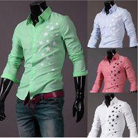 Wholesale pentagram design - Print Star Shirt Men Fashion star pentagram pattern design stand collar single breasted long sleeve mens casual shirts free shipping