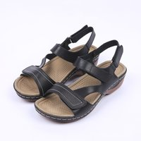 HEYIYI Brand Women Sandals Gladiator Casual Summer Square Heel Hookloop Strap Plataforma Soft PU Light-Weight Black Women sapatos