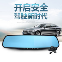 Wholesale Hd Double Car Camera - Car Dvr Vehicle Traveling Data Recorder Rearview Mirror Double Iens 1080 p High-Definition Wide-Angle Double Recorded Before And After All