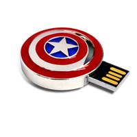 memoria usb 16g al por mayor-Lindo USB Flash Drive 4G 8G 16G 32G 64G de capacidad completa Vengadores Capitán América Escudo de metal USB 2.0 Flash Drive Memory Stick Pen Drive