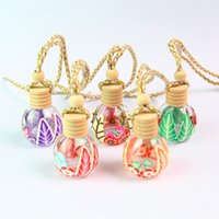 Wholesale Glass Bottle Wooden - Hanging Rope Polymer Clay Empty Bottle 12-15ML Essential Oil Perfume Clear Glass Bottle Wooden Lids Cap Car Decration Ornamental Mix Design