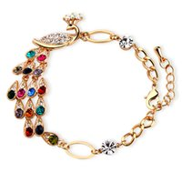 Wholesale Green Peacock Bracelet - Beautiful Colorful peacock bracelet sparkling crystal Phoenix bracelet wholesale Free Shipping