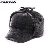 Wholesale Foldable Outdoor Tables - Wholesale- Winter Warm Fur Bomber Hats Men High Quality Russian Snow Hat with Earflaps Thicken Outdoor Bonnet for Men Retro Soft Foldable