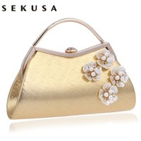 New Arrival Shell Flower Accessory Mulheres Bolsas de noite Silver / Gold Diamonds Handle Chain Shoulder Messenger Bag