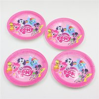 All'ingrosso-My Little Pony Piatti di carta da tavola monouso Bambini festa di compleanno / Festival Wedding Cake Decoration accessori per la casa del piatto 10pcs / lot