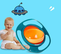 Wholesale toddler bowls - 360 Rotating Kid-Proof Non Spill Feeding Toddler Gyro Bowl With Lid Avoid Food Spilling Children Creation Bowl As Feeding Supplies