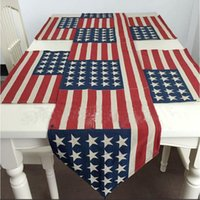 Wholesale Flag Arts - 33*145cm USA Flag Table Runner The United States Flag Pattern Cotton Boutique Art Jacquard Design Decoration Mat Table Cloth Cup Mat