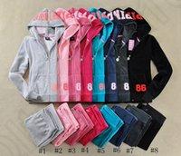 Wholesale Cropped Hoodies Wholesale - Women Pink Tracksuits Velvet Suits Tops Hoodie Sweatshirt Pants Autumn Long Sleeve Crop Top Hooded Pullovers 2 Piece Sets LJJO993