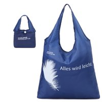 Wholesale shop for beds for sale - Feather Printing Handbag Outdoor Portable Large Capacity Blue Nylon Folding Shopping Bag For Woman Storage Articles tm C R