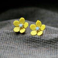 Wholesale Cheap Diamond Shaped Earrings - Yellow Lovely Cheap Enamel Flower Shape Earrings