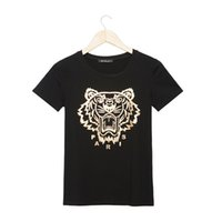 Wholesale Golden Printed Top Tee - Wholesale-New Brand Summer Fashion Women Golden Tiger Head Printed T-Shirt O-Neck Short-Sleeve T Shirts Tees Tops Black White Shirts T963S