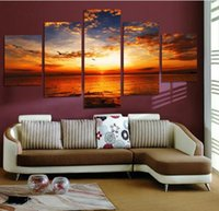 Wholesale Cloud Wall Art - 5 Pcs Colorful Clouds Beach Seaview Sunset Picture Canvas Painting for Home Decor Living Room Wall Art