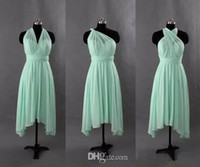Wholesale Short Turquoise Gold Dresses - Chiffon Short Convertible Bridesmaid Dress Turquoise Mint Green Wedding Party Gowns New Bridesmaid Gowns Custom Made
