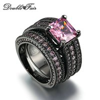 Wholesale Ring Pink Cocktail - Black Gold Luxury Ring Sets Pink Square Cut Crystal 2pcs Rings Fashion Cocktail Party Rings Cubic Zirconia Party Jewelry For Women DFR601