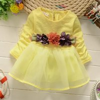 Wholesale cute dress above knee korean for sale - Group buy Autumn New Fashion Infant Girls Yellow Pink Beige Long Sleeve Dress Flower Belt Tutu Dress Contton Korean Style Cute Dress Q0447