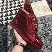 Wholesale Floor Mirrors - 2017New high quality high top mirror burgundy patent leather with spikes red bottom casual shoes,womens fashion sneakers flat shoes