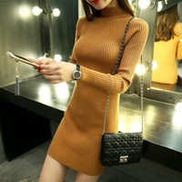 Wholesale Coat Winter Dress For Women - Wholesale-Medium Long Knitting Sweaters and Pullovers for Women New 2016 Autumn Winter Coat Turtleneck Mini-Dress Female Elastic Knitwear