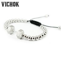 Wholesale Time Beads Charms - 316L Stainless steel Bracelet GYM TIME Fashion Beads Charm Barbell shape Bracelet Cotton Wire top quality Party Gift for men women VICHOK
