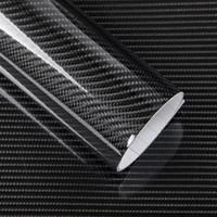 ingrosso adesivo avvolgente nero lucido-5D In fibra di carbonio vinile Wrap Film adesivo auto lucido camion del motociclo heet Wrap rotolo impermeabile decorazione auto accessori nero 50 * 200 cm