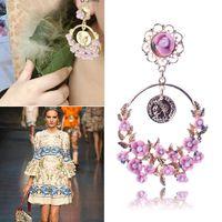 Wholesale Peach Chandelier - hot sale fashion jewelry designer popular style woman lady Garden peach flower branch drop dangle chandelier stud earring