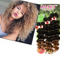 Wholesale 26 Inch Synthetic Braiding Hair - 250g kinky curly freetress hair ombre brown,purple sew in hair extensions synthetic braiding hair extensions deep wave braid in bundles