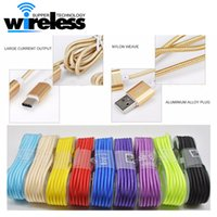 Wholesale Head Plugs - 1.5M Long Strong Braided USB Charging Cable type-c cable For Samsung HTC Sony LG Micro USB Wire With Metal Head Plug USB