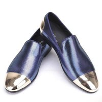 Wholesale Gold Glitter Heels Prom - 2017 new High quality style blue and red plaid sheepskin men's shoes with front and back metal toe Handmade Banquet and Prom men loafers