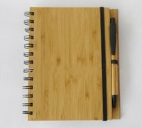Wholesale Wood Bamboo Cover Notebook Spiral Notepad With Pen sheets recycled lined paper LLFA