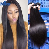 Wholesale Human Weave For Cheap - MikeHAIR Brazilian Human Hair Bundles 8-30inche Cheap Straight Hair Extensions 3 Bundles Raw Peruvian Indian Malaysian Hair Weaves for women
