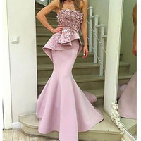 Wholesale Strapless Evening Dress Mermaid - Arabic Evening Gowns Dresses Sexy Elegant Flowers Strapless Pink Long Evening Gowns Mermaid Prom Dresses 2017