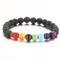 Wholesale 8mm Black Beads - New Top Plaza Men Women 8mm Colorful Lava Rock Beads Chakra Bracelet Black Healing Energy Stone Gemstone Bracelet