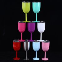 Wholesale Champagne Party Supplies - 2017 christmas 10OZ Stainless Steel Wine Glass bilayer insulated Drinking Cups Champagne Goblet Barware Kitchen Tools Party Supplies