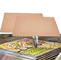 pique-nique achat en gros de-Tapis de barbecue en cuivre réutilisable sans bâton Tapis de barbecue BBQ cuisson facile à nettoyer griller feuille frite Portable pique-nique en plein air cuisson Barbecue outil