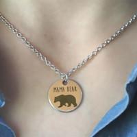 colar mãe venda por atacado-Mama urso colar, presente do dia das mães, presente de chá de bebê, tom de prata