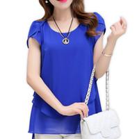 Wholesale Women Basic Chiffon Blouse - 2017 Summer New Women Blouse Loose Shirt O-Neck Chiffon Blouse Female Short Sleeve Blouse Plus Size Basic Shirts
