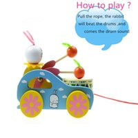 Wholesale Cart For Toys - Wooden Cute Kid Rabbit Beating Drum Pulling Cart Educational Toy for Children Toddler Funny Children Playing