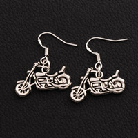Wholesale antique celtic jewelry - 925 Silver Fish Hook Motorcycle Earrings 36pairs lot Hot Antique Silver Dangle Chandelier Jewelry E494 24x29mm