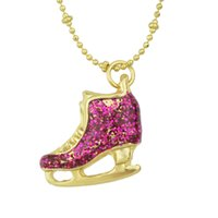 Wholesale Ice Skates Necklaces - New Fashion Necklace Jewelry Hot Selling Gold Color Alloy Cute Rhinestone Ice Skate Shoes Pendant Necklace for Women